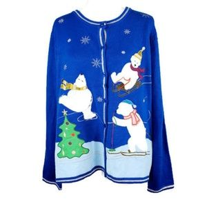 Holiday Time - Royal blue Christmas sweater
